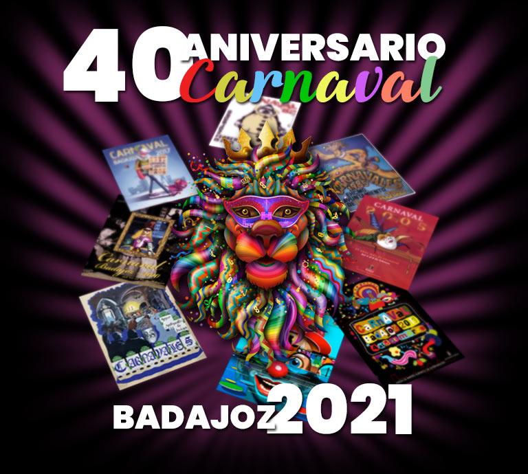 Cartel del 40 aniversario del carnaval de Badajoz